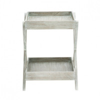 Distressed Gray Wood Accent Tray Table