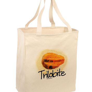 Trilobite Fossil Watercolor Text Large Grocery Tote Bag