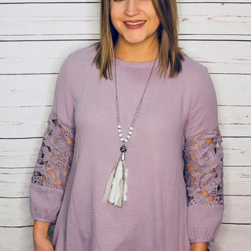 Adore Me - Lavender 3/4 Sleeve Embroidered Top