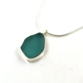Mint Julep Sea Glass Pendant Necklace, Beach Glass Pendant, Seaglass Necklace, Beach Jewelry, Sea Glass Jewelry, Sterling Silver EMELINE