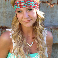 Tribal Girl Headband {Red}