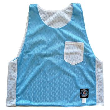 Baby Blue and White Pocket Reversible Lacrosse Pinnie