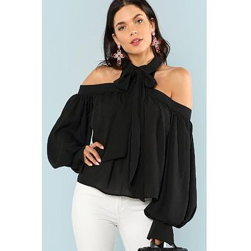 Black Lantern Sleeve Tied Neck Blouse