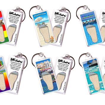 Cancun FootWhere® Souvenir Keychains. 6 Piece Set. Made in USA