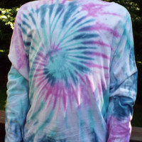 Long Sleeve Tie-Dye Tee, unisex M Tie Dye, Mens Tiedye Shirt, Womens tiedye, hippie clothing, retro tshirt, 60s apparel, long sleeve tiedye