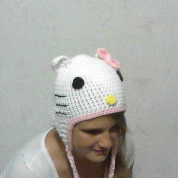 Hello Kitty crochet hat, photo prop, great warm gift