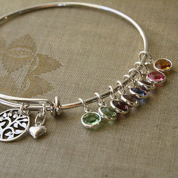 Rhodium Bangle with a Sterling Silver Tree of Life Pendant with Swarovski Birthstone Crystals-Mom,Mommy,Mother,Grandma,Grandmother