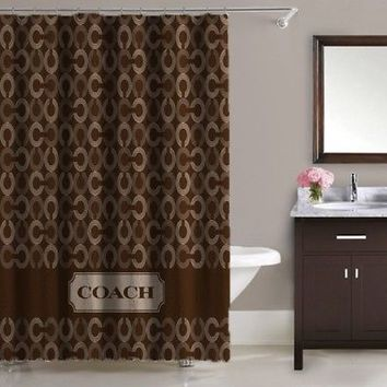 Luxury Design Coach Logo Brown Print On High Quality Waterproof Shower Curtain