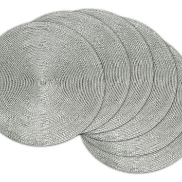 DII Round Braided/Woven Indoor/Outdoor Placemat/Charger Set of 6 Metallic Sil...