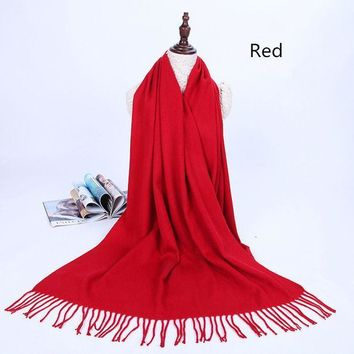 ESBU3C Solid color warm students tassel wool scarf Autumn and winter long thick cashmere dual-use cashmere shawl