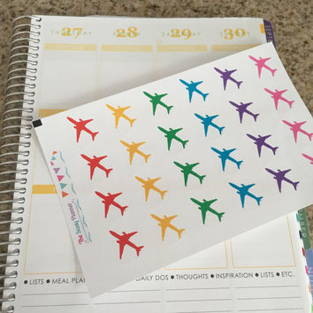 FREE SHIPPING D8 Airplane plane flight tracker travel stickers for Erin Condren Life Planner/Plum Paper Planner - set of 24