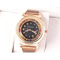 LV tide brand simple female models personality fashion wild quartz watch Black
