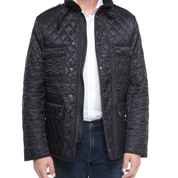 Russell Diamond-Quilted Field Jacket, Black, Size:
