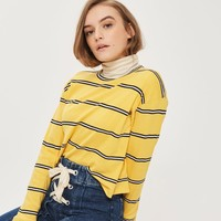 Yellow Striped Long Sleeve Crew Neck Top | Topshop