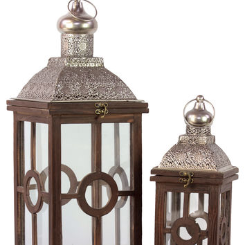 Intricate Lamp Post Design Wooden Lantern Set Of Two In Antique Brown Finish