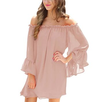 Flare Sleeves Women Sexy Off Shoulder Long Sleeve Chiffon Pink Mini Dress vestidos mujer