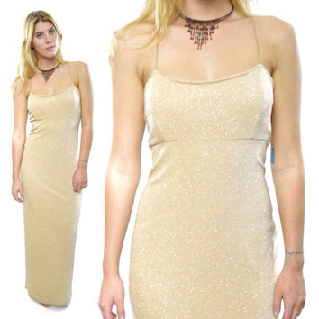 Vintage 90s Jump Apparel Co. by Wendye Chaitin NWT Sparkly Gold Cocktail Gala Ball Prom Gown Maxi Dress