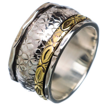 Spinner Ring -  Hammered Two Tone Three Spinners - keja Jewelry