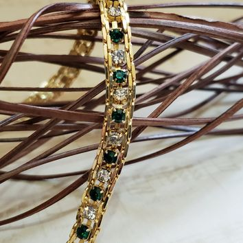 Estate Jewelry - Emerald & Diamond Bracelet