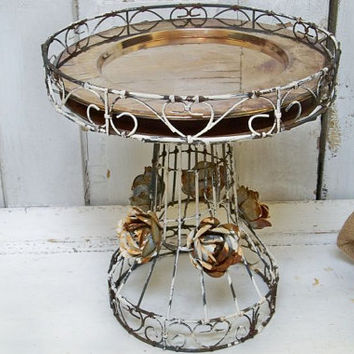 Dessert tray recycled from found object wire and metal rusty distressed and embellished with metal roses Anita Spero
