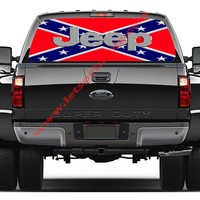 Jeep Rebel/Confederate Flag-Rear Window Decal-Graphic