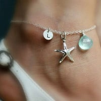 PERSONALIZED ANKLET with starfish charm, Initial & Birthstone, silver Starfish anklet, ankle bracelet, Bridesmaid gift, beach wedding