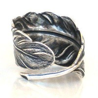 Fallen Angel Feather Antique Silver Ring