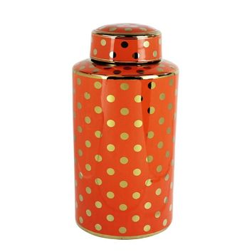 Lustrous Polka Dotted Decorative Ceramic Covered Jar , Orange By Sagebrook Home