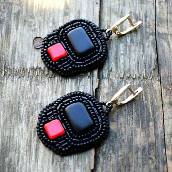 Black Beadwork Earrings Bead Embroidered Black Red Dangle Earrings Sterling silver hooks Earrings Seed Bead Earrings Gift for sister or mom