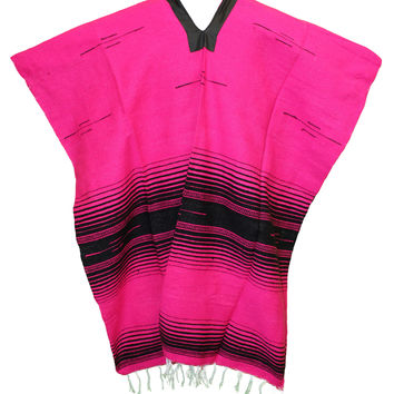 Serape Mexican Poncho - Tribal Hot Pink