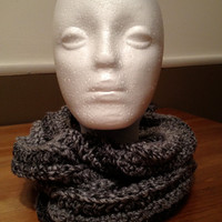 Crochet Chunky Cowl  Unisex Grey Tweed by RitasKnots on Etsy