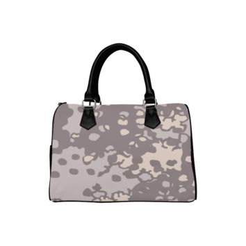 Personalized Women Bag Brown And Gray Camouflage Boston Top Handbag