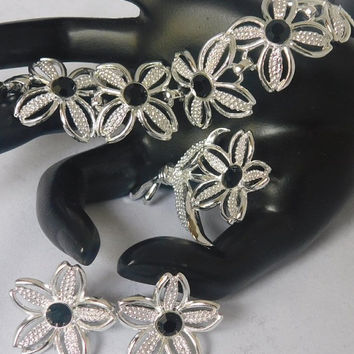 Sarah Coventry BLACK BEAUTY 1967 NEW Vintage Designer Beautiful Flower Silvertone Bracelet Brooch Pin Clip Earrings Signed Set of 3! 112