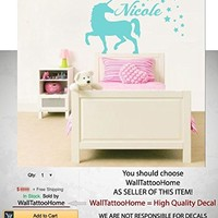 "Unicorn Wall Art Custom Name Decals Sticker Personalized Vinyl Home Decor Girls Bedroom Nursery Kids Room MS50 (17"" Tall)"