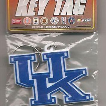 UK Kentucky Wildcats Keychain Logo Rubber Laser Cut Key Tag Keychain