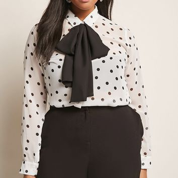 Plus Size Sheer Polka Dot Shirt