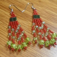 Bead Earrings Green and Red Bead Dangle Earrings