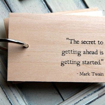 $16.00 Wood Notepad / Notebook 3 x 2  Mark Twain  by quotesandnotes