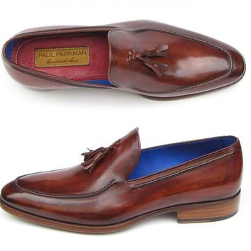 Paul Parkman (FREE Shipping) Men's Tassel Loafers Brown Leather Upper and Leather Sole (ID#073-BRD)