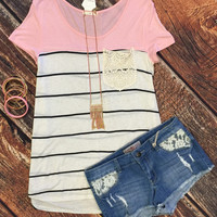 Striped Crochet Pocket Top: Pink