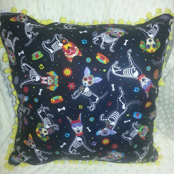 Fun Sugar Skull Pups with Yellow Pom-Poms Decorative Pillow