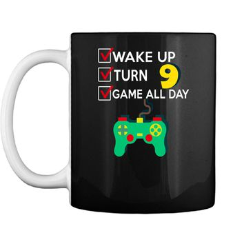 9 Yr Old Boy Game All Day Gamer Birthday Party Shirt Outfit Mug