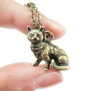 Realistic Short Hair Tabby Cat Shaped Animal Pendant Necklace in Brass | Jewelry for Cat Lovers