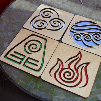 Avatar: The Last Airbender set of 4 wood coasters
