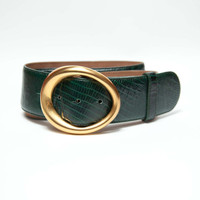 Vintage 1980's Forest Green Snakeskin Belt - Gold Oval Buckle - Donna Karan - Wide Belt
