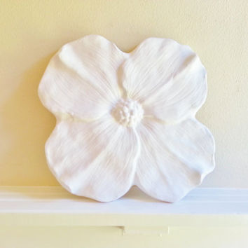 Large Flower Wall Sculpture, White flower, modern minimalist decor
