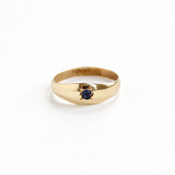 Vintage Simulated Sapphire 10K Yellow Gold Baby Ring - Vintage 1920s OB Ostby & Barton Art Deco Size 1/4 Midi Fine Blue Glass Pinky Jewelry