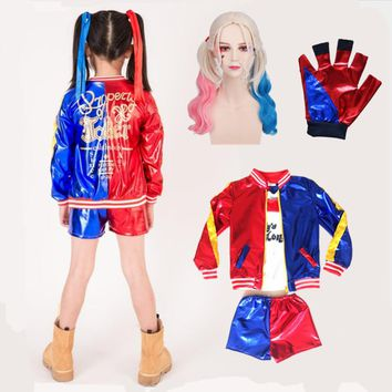 Harley Quinn Cosplay Costumes Kids Girls Purim Coats Femme Jacket Chamarras De Batman Para Mujer Suit with Wig Gloves