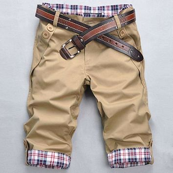 Mens Fitness Pants Plaid Cuffs Pants