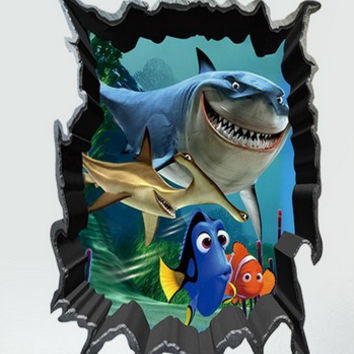 Animal 3D Big Shark Small Fish wall stickers home decor wall stickers for kids rooms 3D boys Multi Color 50*70CM SM6